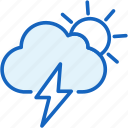 cloud, sun, thunder, weather icon