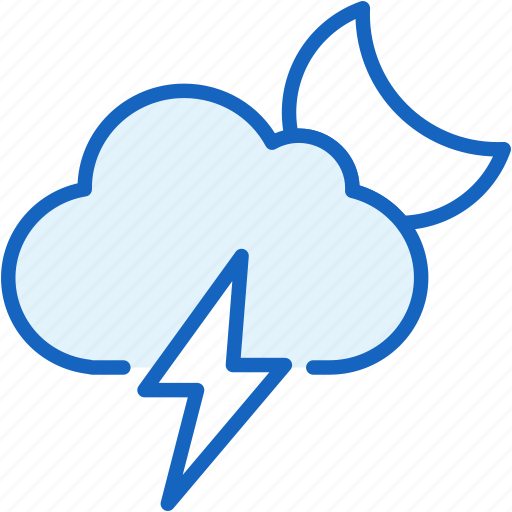 cloud, moon, thunder, weather icon