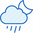 cloud, moon, rain, weather icon