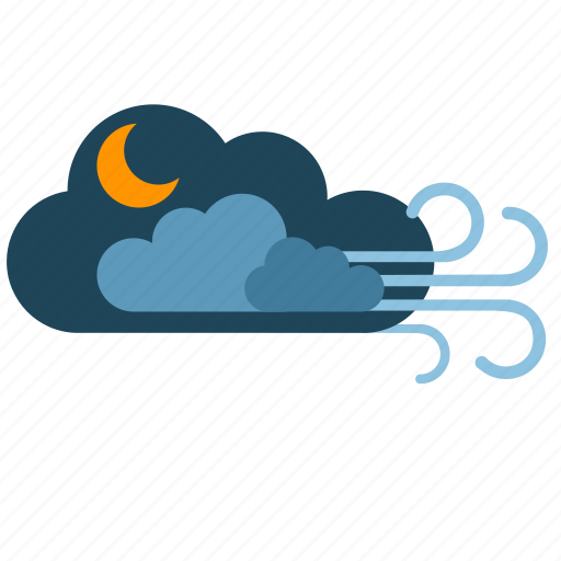 clouds, moon, night, weather, wind icon