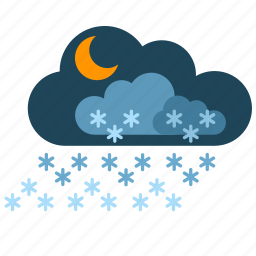 clouds, night, snow, weather icon