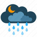clouds, moon, night, rain, snow icon