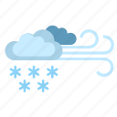clouds, condition, snow, weather, wind icon