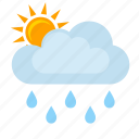 clouds, condition, rain, sun, weather icon