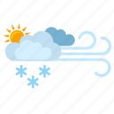 clouds, flakes, show, sun, weather, wind