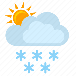 clouds, snow, sunny, winter icon