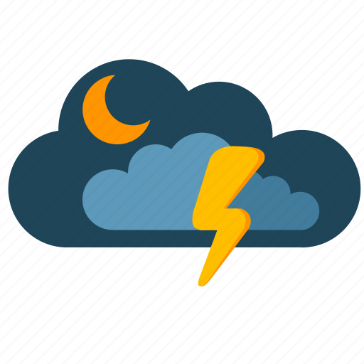 clouds, moon, night, shock, weather icon