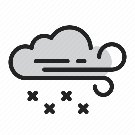 cloud, cold, snow, weather, wind, winter icon