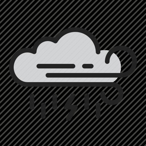cloud, lightning, rain, storm, weather, wind icon