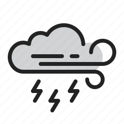 cloud, lightning, storm, weather, wind icon