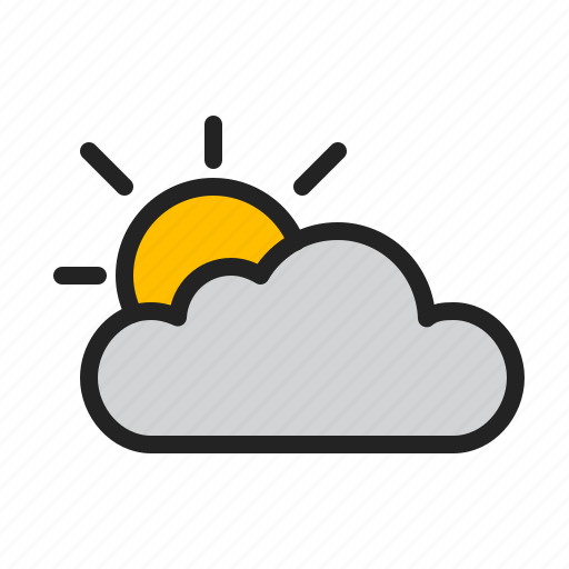 cloud, clouded, day, partially, sun, weather icon