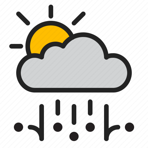 cloud, day, hail, rain, storm, sun, weather icon