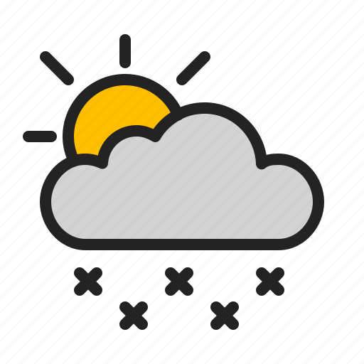 cloud, cold, day, snow, sun, weather, winter icon