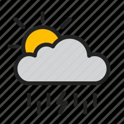 cloud, day, lightning, rain, storm, sun, weather icon