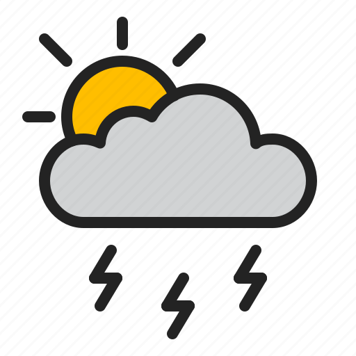 cloud, day, lightning, storm, sun, weather icon