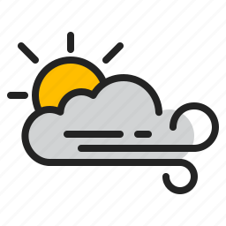 cloud, day, sun, weather, wind icon
