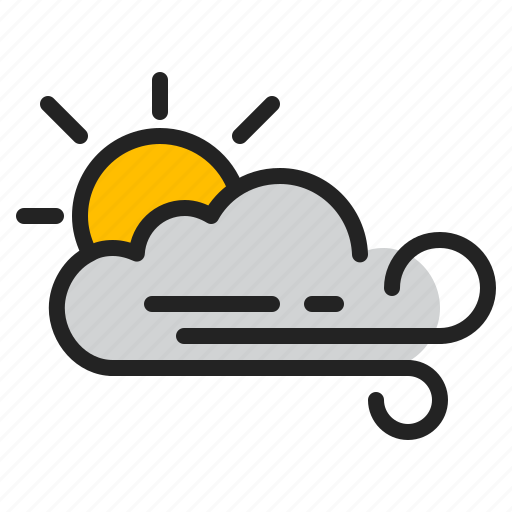 Cloud, day, sun, weather, wind icon - Download on Iconfinder