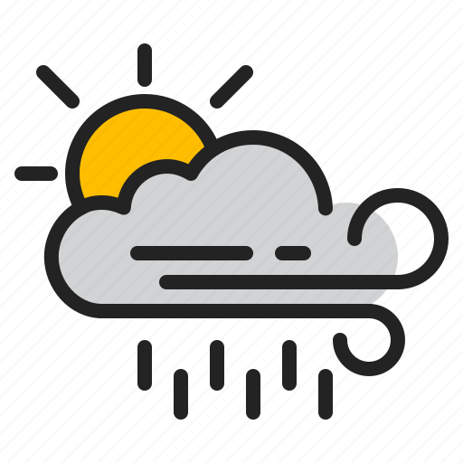 cloud, day, rain, storm, sun, weather, wind icon