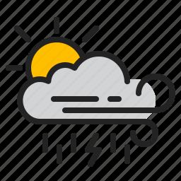 cloud, day, rain, storm, sun, weather, wind icon