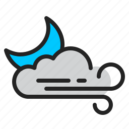 cloud, clouded, moon, night, weather, wind icon