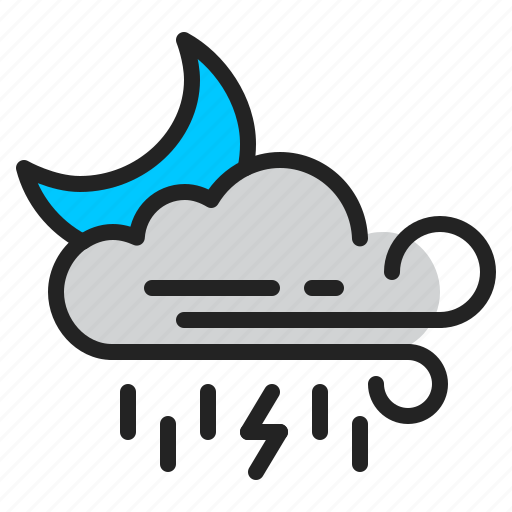 cloud, moon, night, rain, storm, weather, wind icon