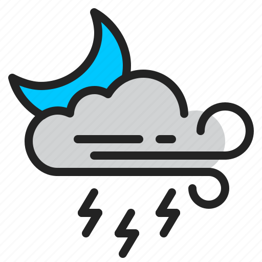 cloud, lightning, moon, night, storm, weather, wind icon