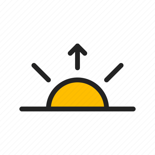 arrow, day, rise, sun, sunrise, weather icon