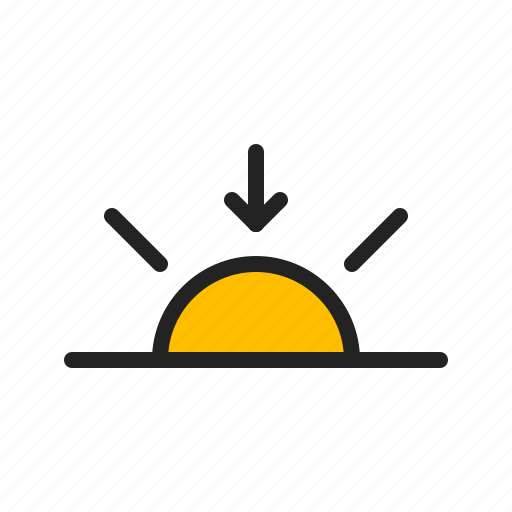 arrow, day, set, sun, sunset, weather icon