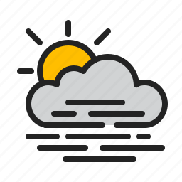 cloud, day, fog, sun, weather icon