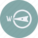 clouds, compass, forecast, pointing, vacation, weather, west icon