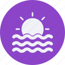 clouds, forecast, sunset, vacation, weather icon