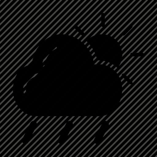 bright, cloud, rain, sun, weather icon