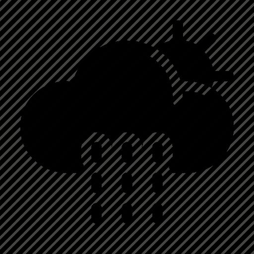 cloud, forecast, rainy, sun, sunny, weather icon icon