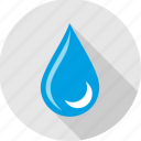 drop, half moon, moon, rain, raining, water, weather icon