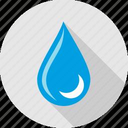 drop, half moon, moon, rain, raining, water, weather icon