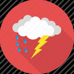 cloud, clouds, rain, raining, rainy, thunder, weather icon