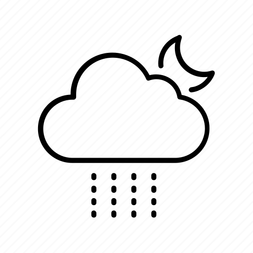 cloud, drizzle, forecast, moon, weather icon