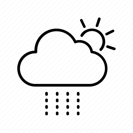 cloud, drizzle, forecast, sun, weather icon