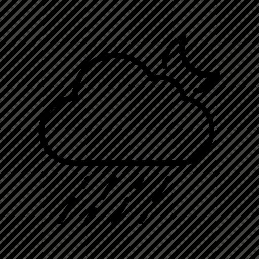 cloud, forecast, moon, rainy, weather icon
