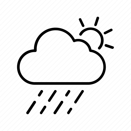 cloud, forecast, rainy, sun, weather icon