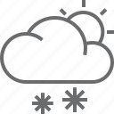 cloud, snow, sun, weather icon