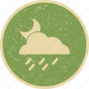 cloud, moon, night, rain icon