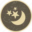 moon, moon and stars, night, stars icon