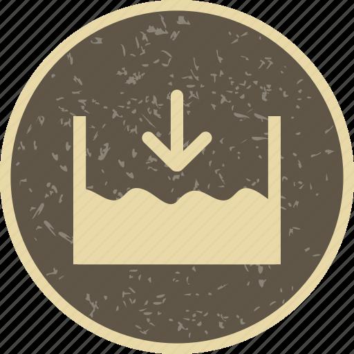 below ocean level, below sea level, below water level icon