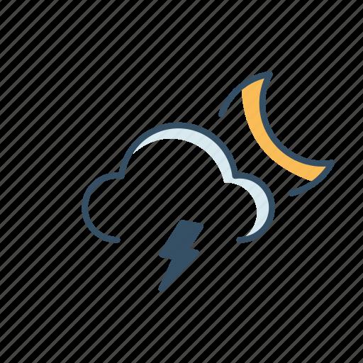 cloud, forecast, moon, rain, ui, weather icon