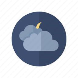 clouds, moon, night, weather icon