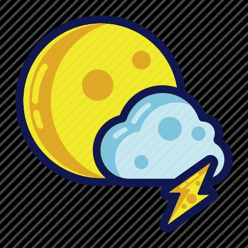 night, thunder, weather icon