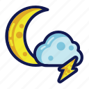 night, thunder, weather icon
