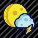 night, rain, thunder, weather icon