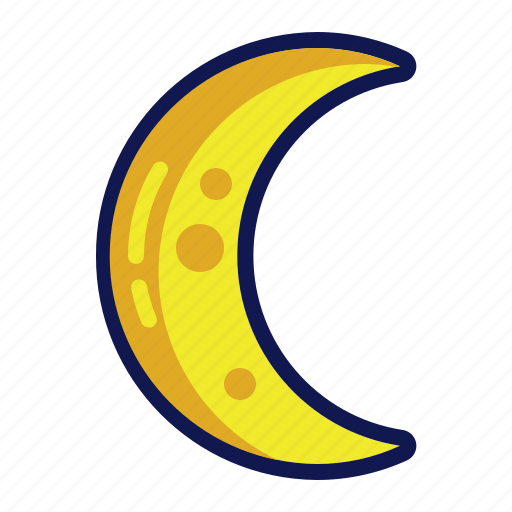 half moon, moon, night, weather icon
